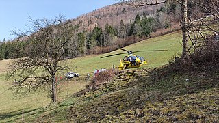 2020-03-27 (112) Airbus H 135 Christophorus 15 (OE-XVA) from Christophorus Flugrettungsverein at rescue of a person in a alpine terrain in Schroffengegend, Loich, Austria.jpg